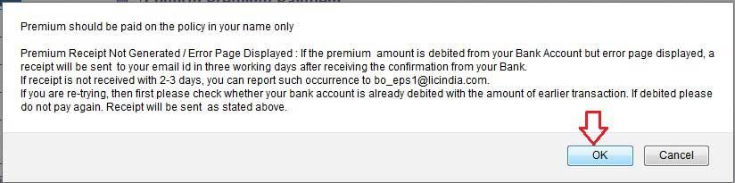 premium payment confirmation.